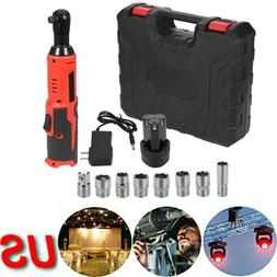 18V Cordless 3/8'' Electric Ratchet Impact Wrench Tool w/ Ba