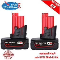 Milwaukee 48-11-2412 Twin Pack of 3.0 Amp Hour Extended Capa