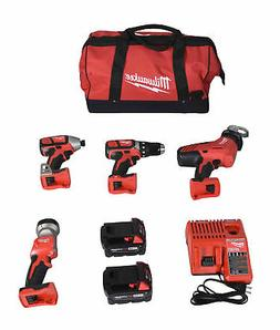 Milwaukee 2695-24 M18 18V Cordless Lithium-Ion 4-Tool Combo