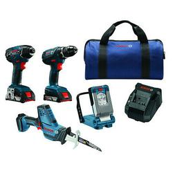 Bosch 18V 4-Tool Combo Kit with Compact Tough Drill/Driver,